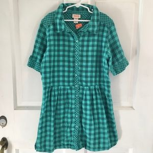 GIRLS Mossimo Green Checkered Shirt Dress SZ 14/16